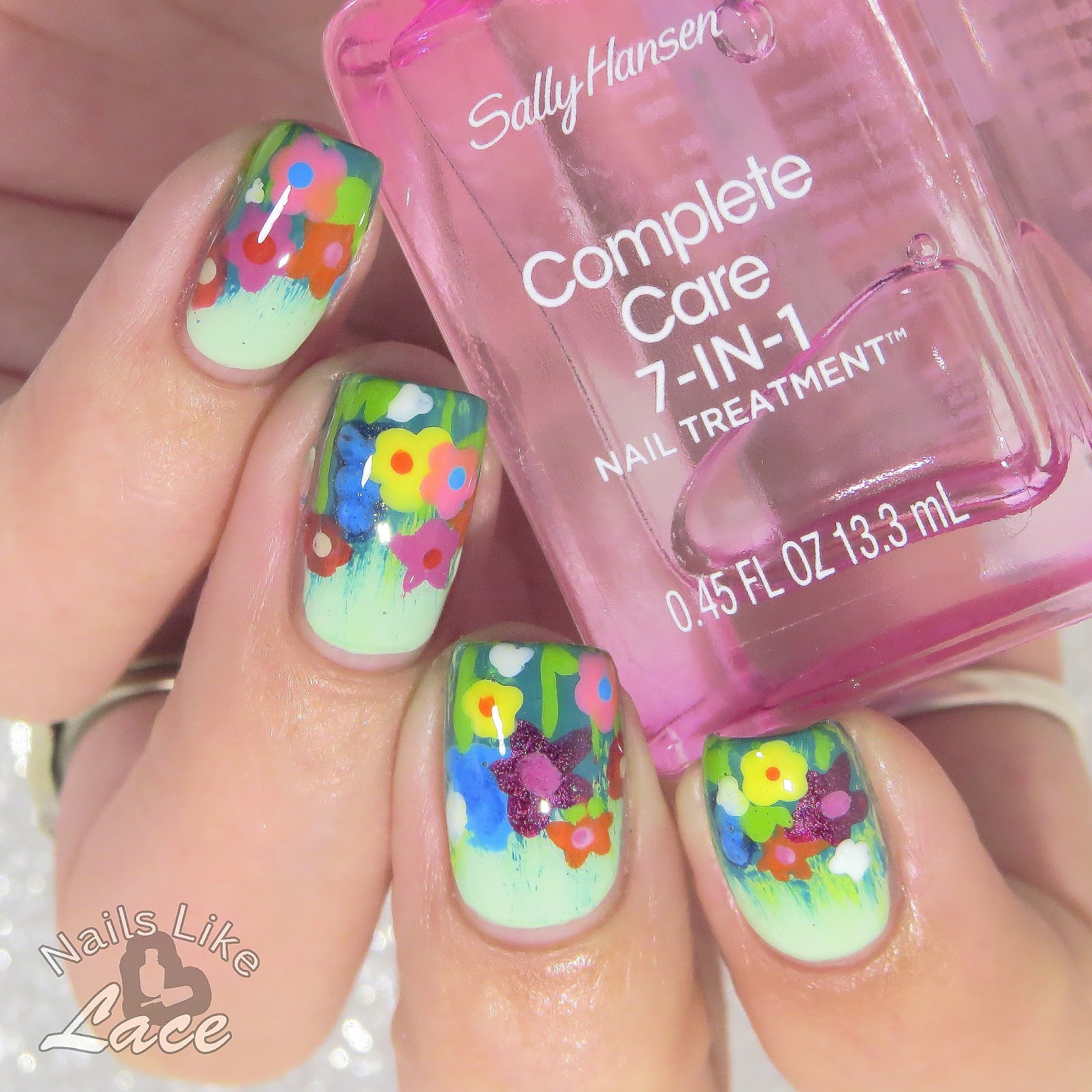 Nailslikelace Field Of Wildflowers Feat Sally Hansen Nail Art Brushes
