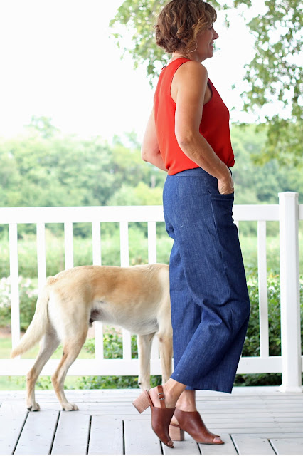 McCall's 7445 wide leg culottes, a Melissa Palmer pattern made in Mood Fabrics' stretch denim - side view