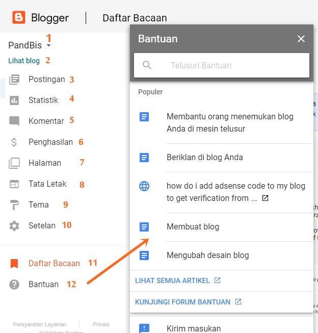 tampilan dashboard blogger blogspot terbaru