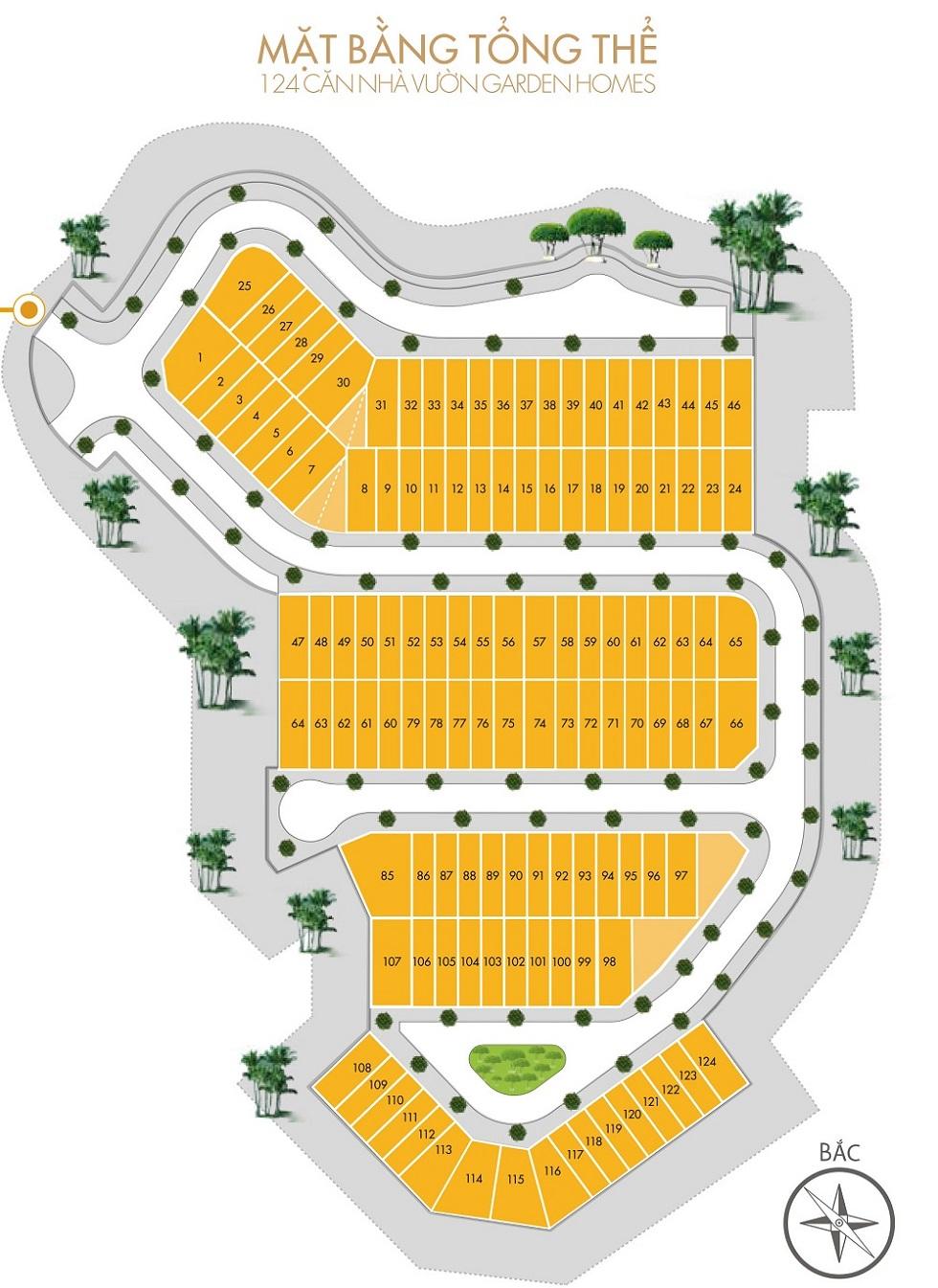 Bản đồ phân lô liền kề ST3 Gamuda Gardens.