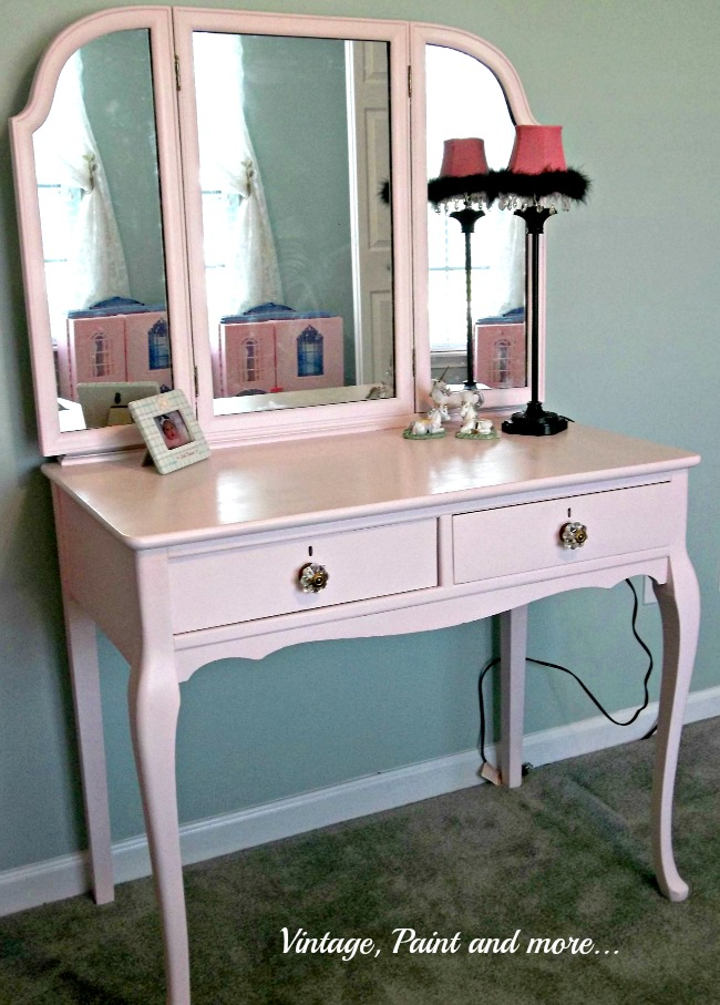 Vintage, Paint and more... thrifted vanity painted pink for girly girl room