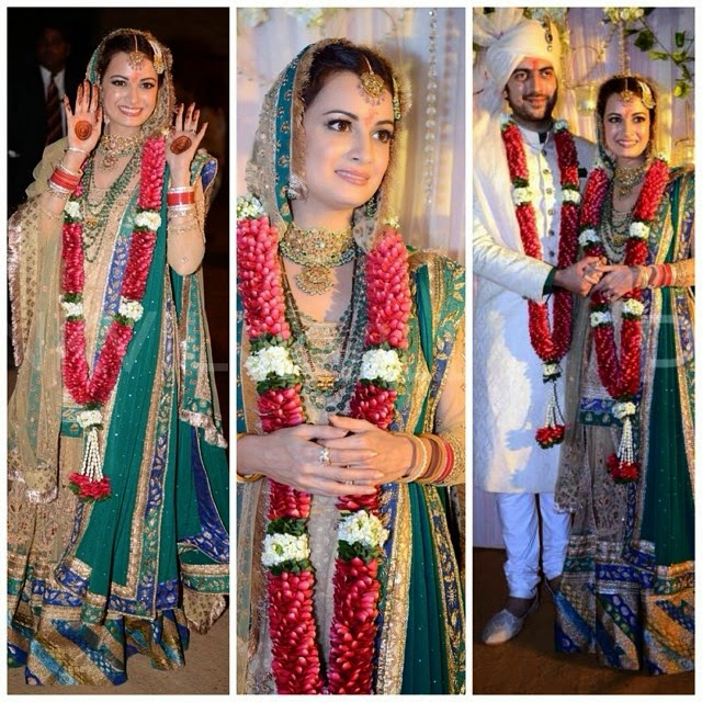 dia mirza looked stunning in a beige and green lehanga by ritu kumar dia mirza, ritu kumar, lehan a, bridal, couture, hair and makeup, jewell r, indian beauty, indian wedding, wedding dress, streets tyl , indian fashion news,, Dia Mirza Wedding Photos with Sahil sangha