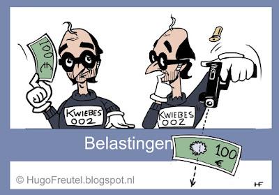 cartoon belasting loket met  Wiebes schenkt geld en schiiet geld kapot