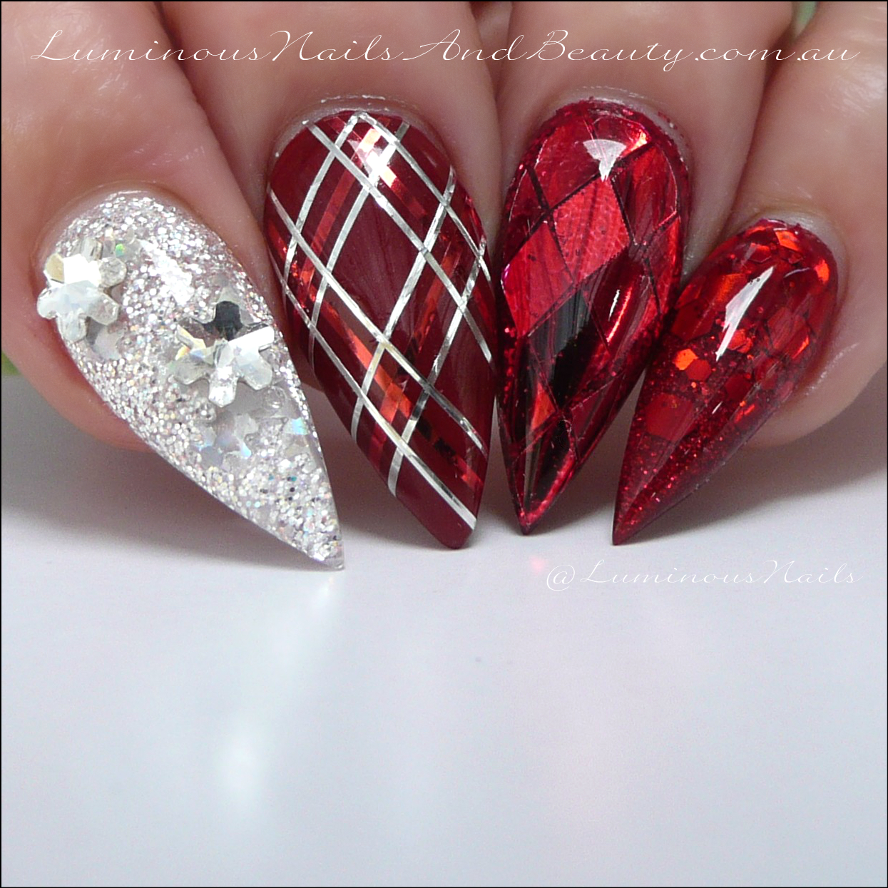 Luminous Nails: Christmas Nails... Red & Silver Christmas Nails ...
