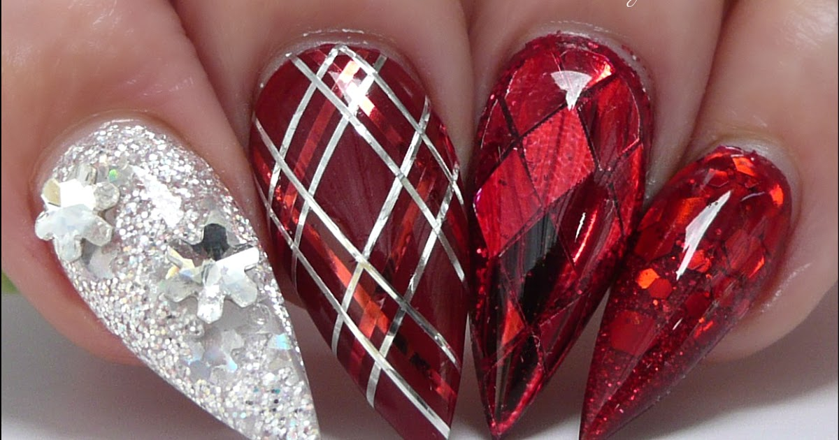 Red and silver acrylic nails