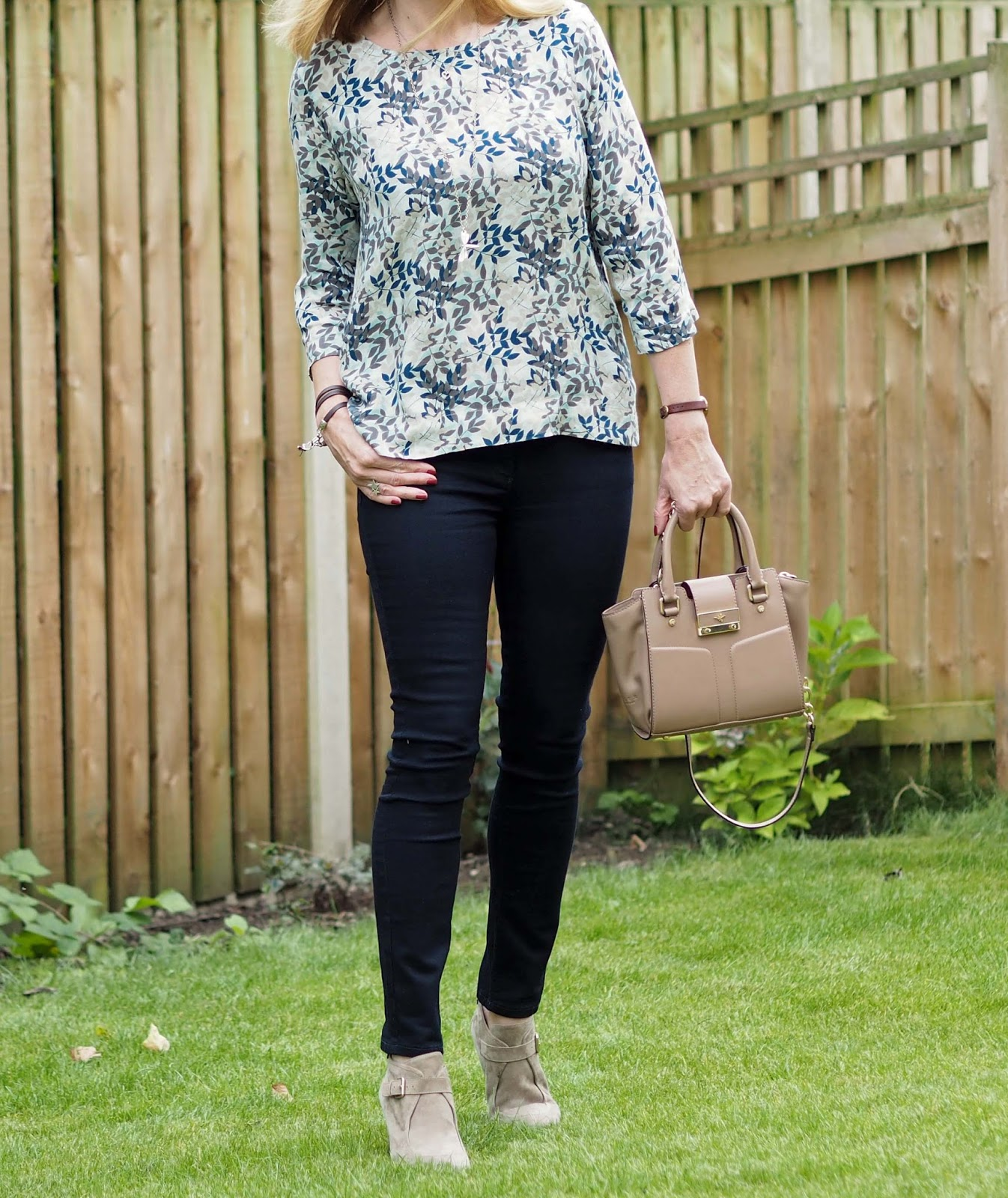 Tulchan leaf top, shades of teal and taupe, slim jeans, wedge boots