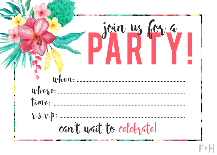 Free tropical printable party invitations