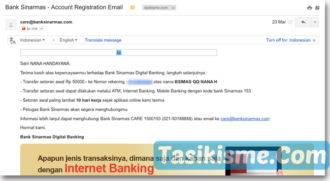 konfirmasi pendaftaran rekening online sinarmas
