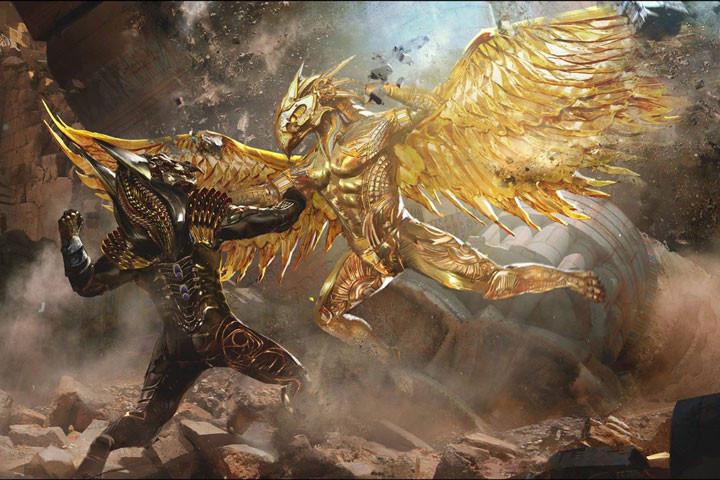 Escena de la película Dioses de Egipto, donde el Bien y el Mal luchan a muerte con sus respectivas armaduras de combate.