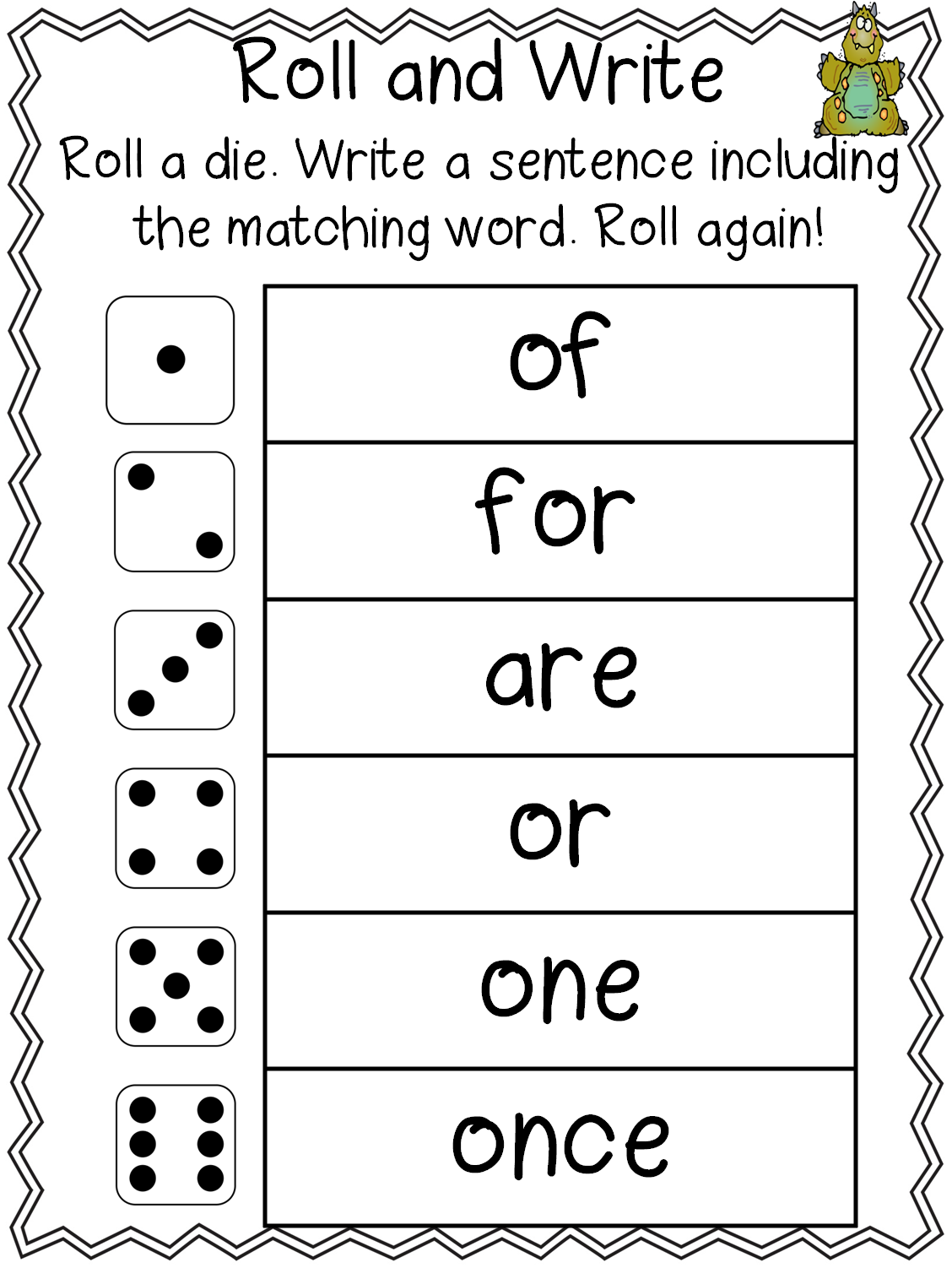 First Grade Wow High Frequency Word Spelling