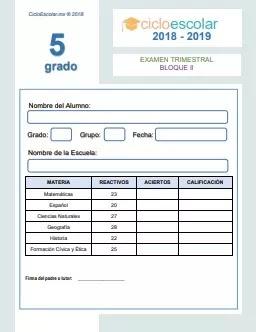 Examen Trimestral Quinto grado Bloque II 2018-2019