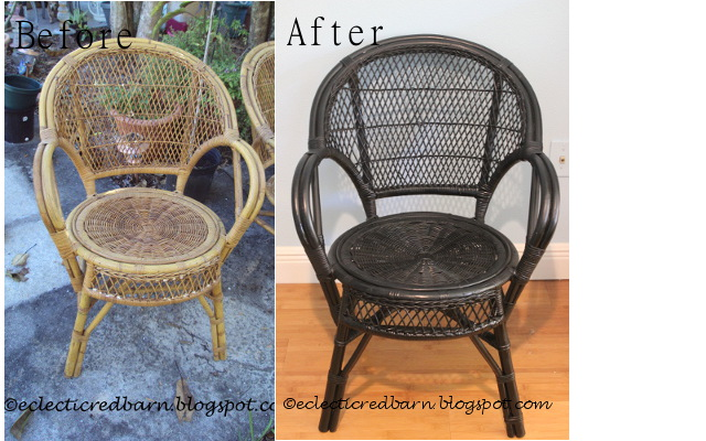 Before and after wicker chairs