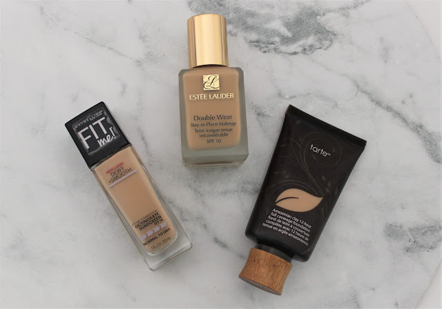 The best full coverage foundations Estee Lauder Double Wear Tarte Amazonian Clay and Maybelline Fit Me