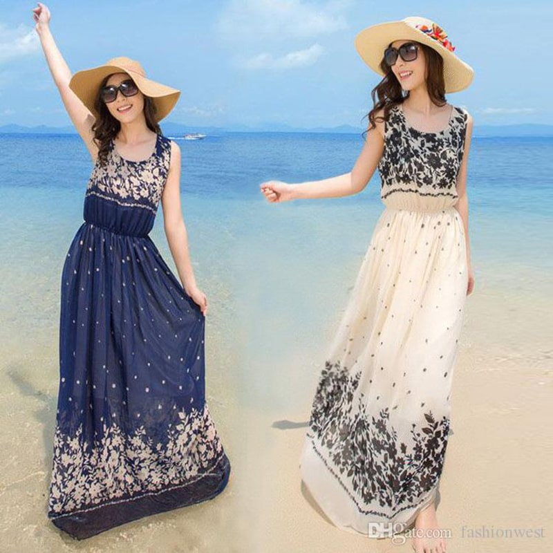 Sleeveless Dress Summer Style Floral Print Maxi Dresses Women Beach Club Casual Loose Chiffon Sleeveless O Neck Long Elegant Bohemia Dress