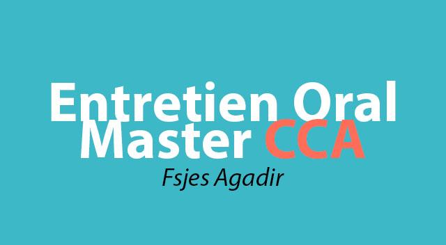 Entretien Oral du Master Comptabilité Contrôle et Audit (CCA) fsjes agadir