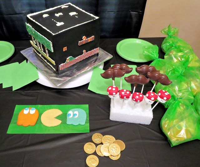 Retro Video Game Cake - Party Table with Cake & some Goodie Bag Treats