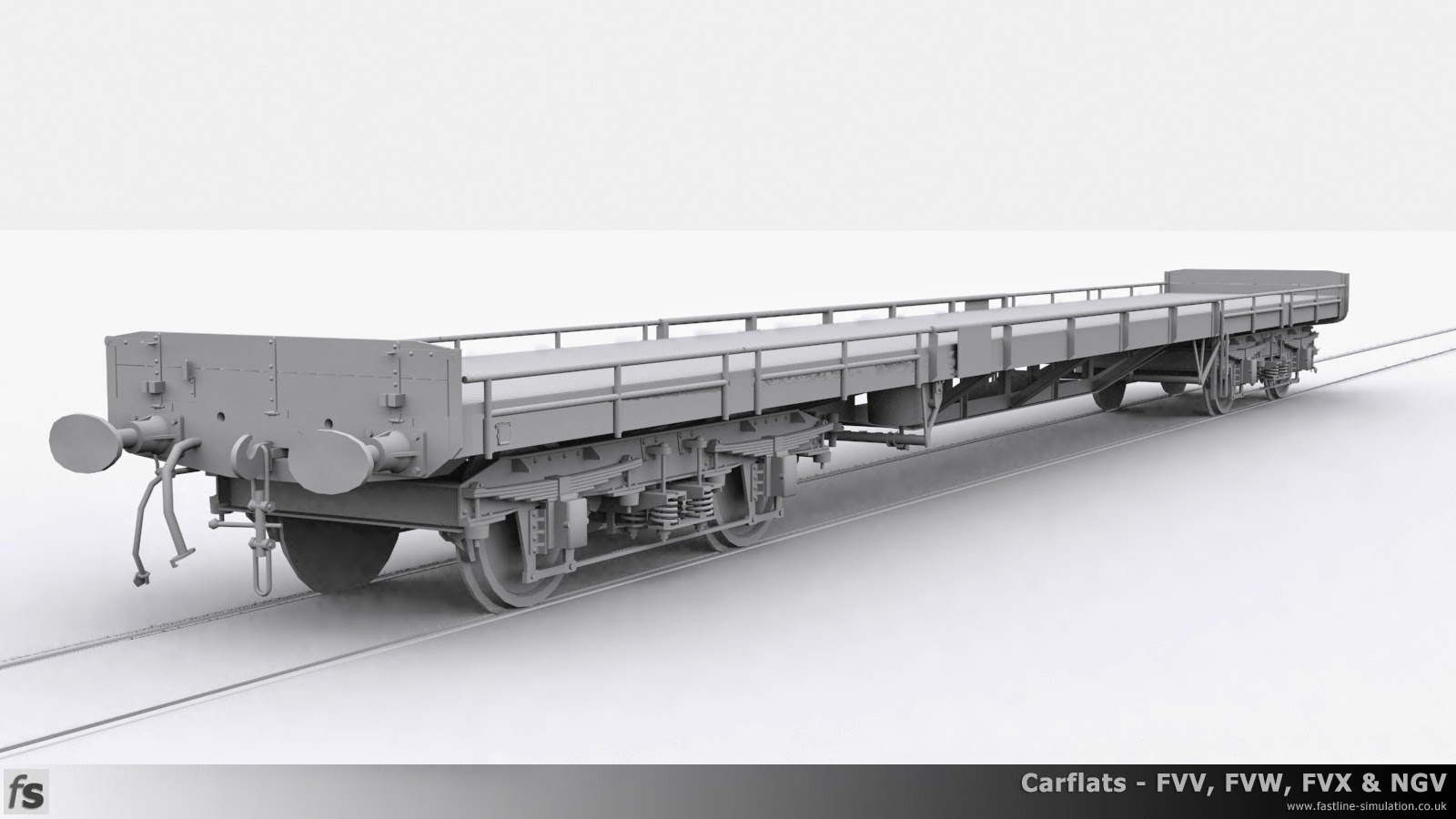 Fastline Simulation - Carflats: This render represents a dia. 1/177 wagon with wooden ends, vacuum brakes and through air pipe. The sides are the lower configuration of split sides with the details board virtually in the middle.