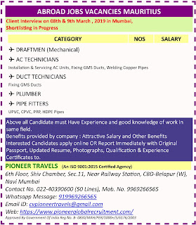 Urgently Required For a Leading Contracting Company in Mauritius text image