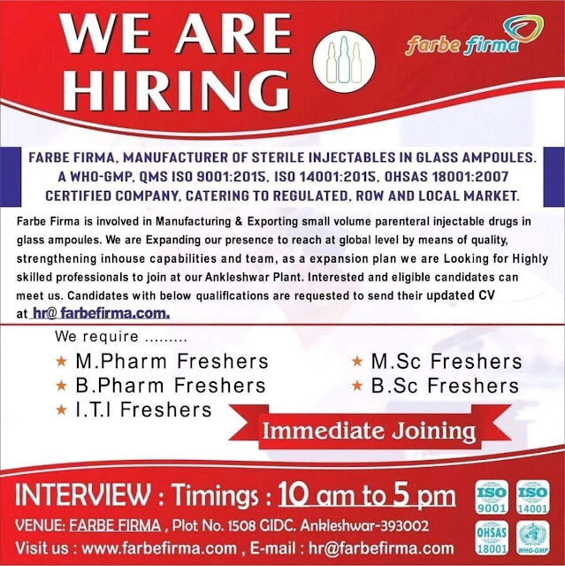FARBE FIRMA Walk In Interview For FRESHERS, M.Pharm, B.Pharm, ITI, M.Sc, B.Sc