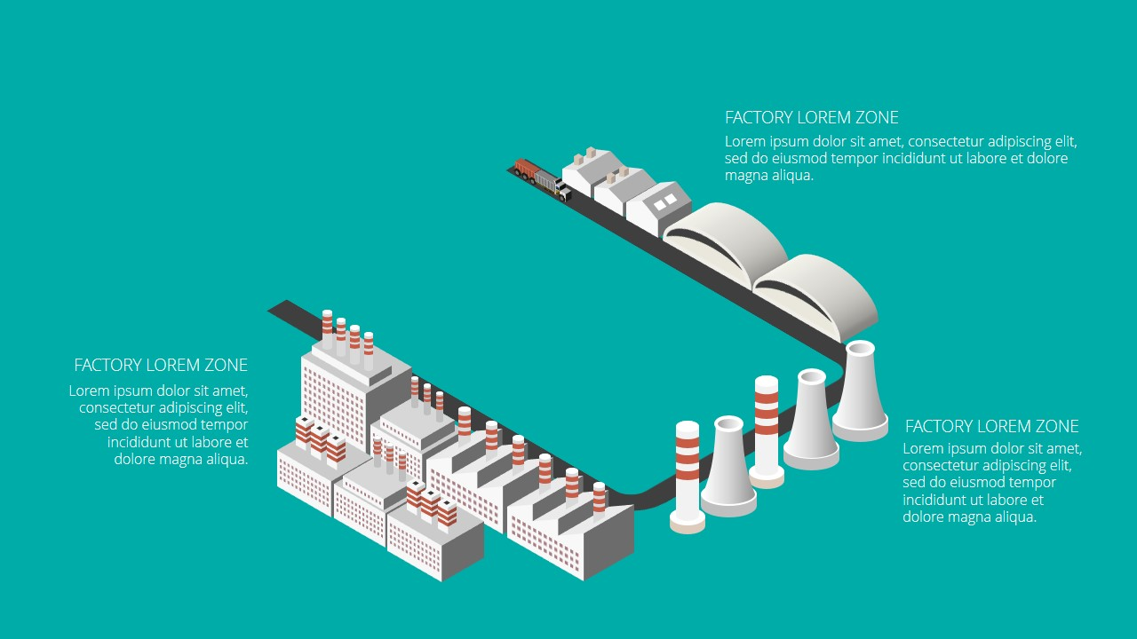 Free PowerPoint Template with Isometric Factory Elements