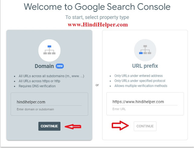 Google webmaster tool Select Type