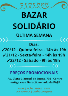 Última semana do Bazar Solidário em Registro-SP