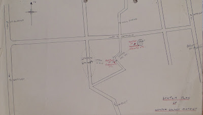 Sketch map of Richter's equipment stashes (National Archives - KV 2/32)