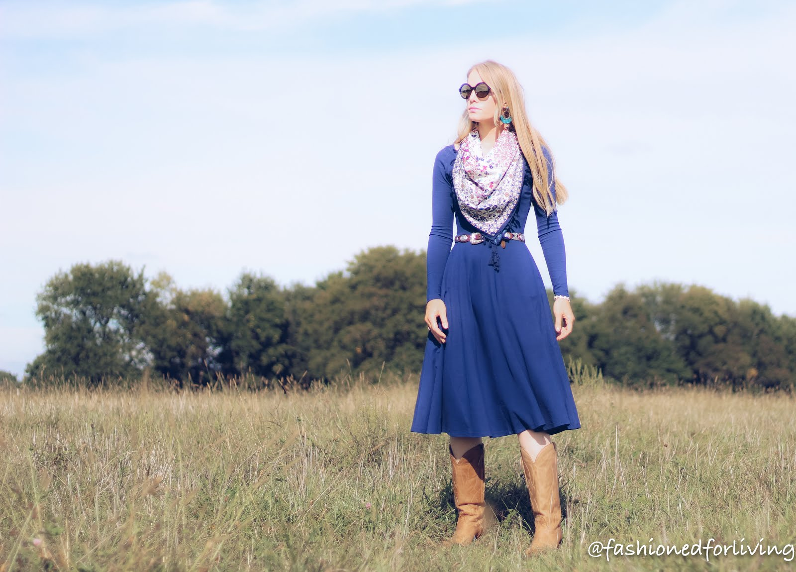 dress and cowboy boots outfit