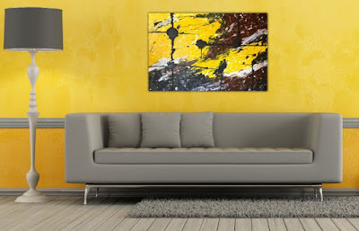 relaxing colors for living room yellow wall paint and grey furniture