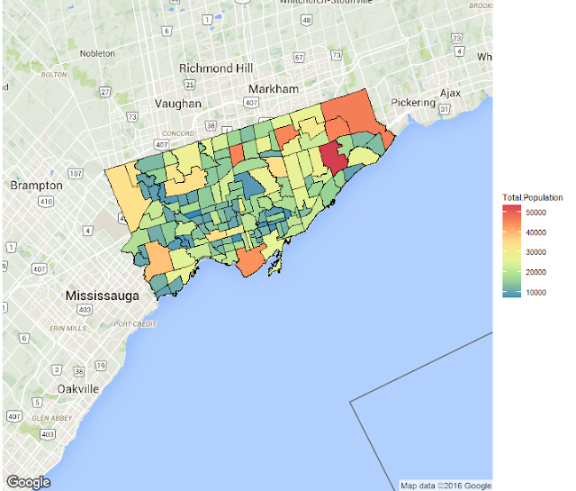 Plotting Choropleths from Shapefiles in R with ggmap – Toronto