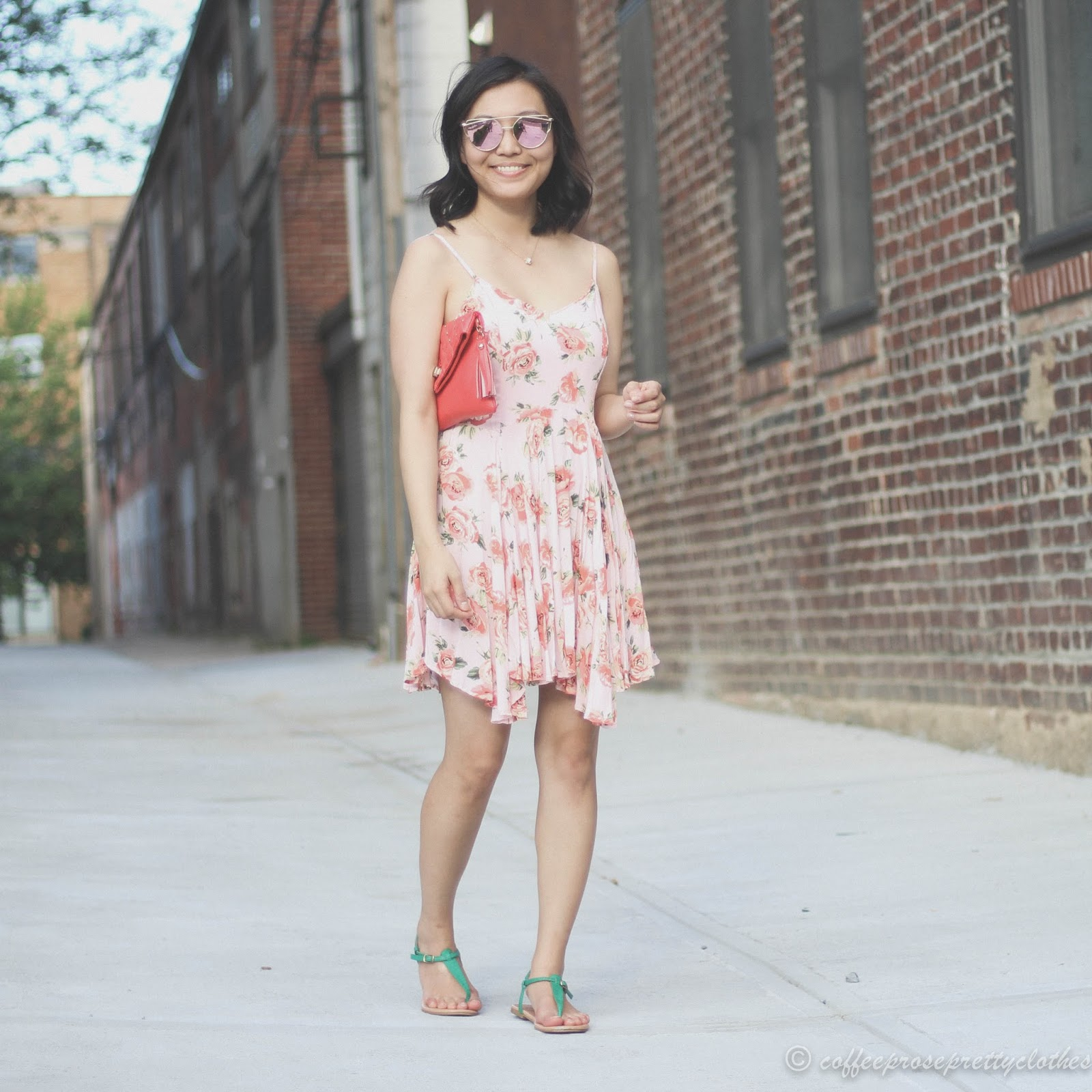 Rose gold cat eye sunglasses, floral dress, handkerchief hem, uneven hemline dress, sandals