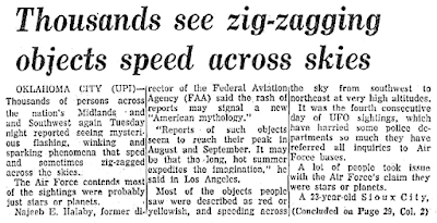 Thousands See Zig-Zagging Objects - Syracuse Herald-Journal 8-4-1965