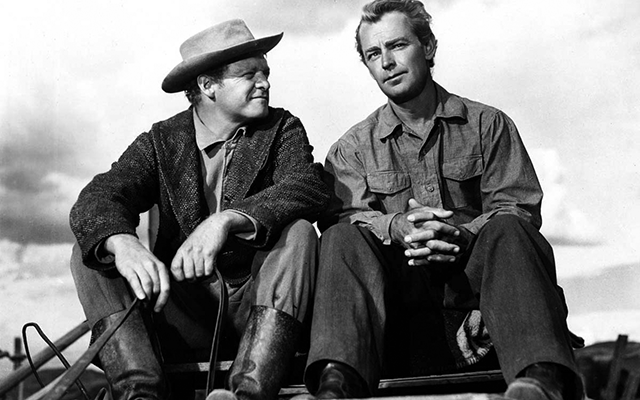 Van Heflin and Alan Ladd in SHANE (1953, George Stevens).