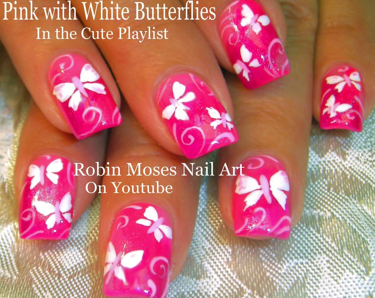 Nail Art By Robin Moses Butterfly Nail Art Diy Summer Nails