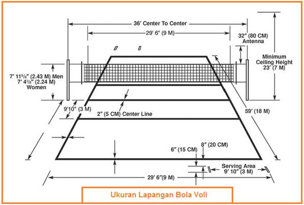 Gambar dan Ukuran Lapangan Bola Voli