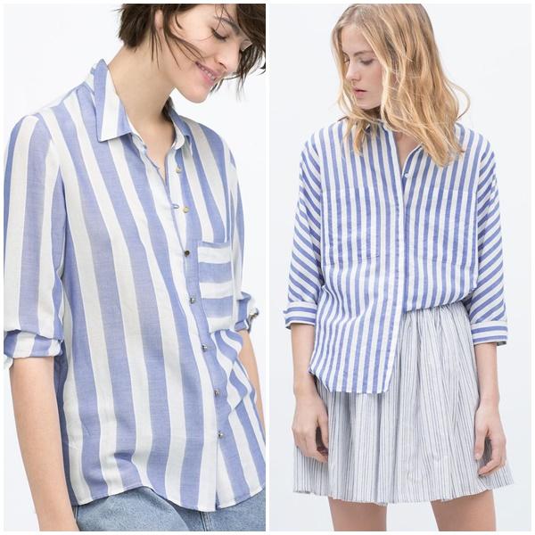 Camisa com listras branca e azul