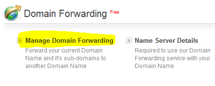 Bigrock domain forwarding option