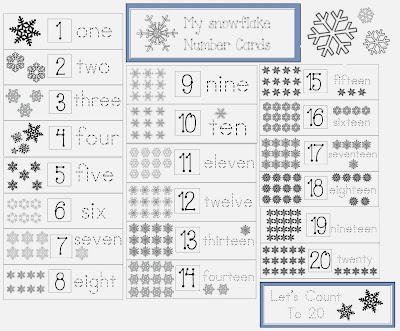 Classroom Freebies: Snowflake Number Cards