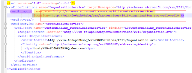 How to Get Full WSDL Schema for Organization Service in