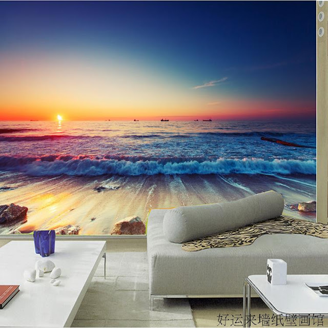 Nature Wall Murals Ocean Beach Sunset 3d Photo Wallpaper Landscape Bedroom Livingroom