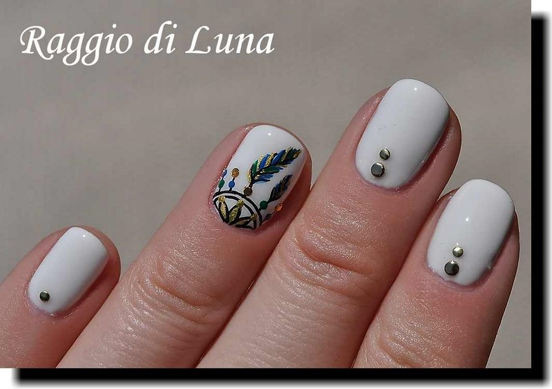 Raggio Di Luna Nails Uv Gel Manicure With Freehand Nail Art