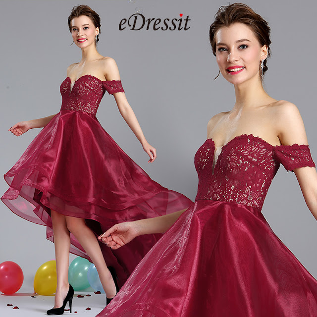 Burgundy Off Shoulder Prom Homecoming Dress