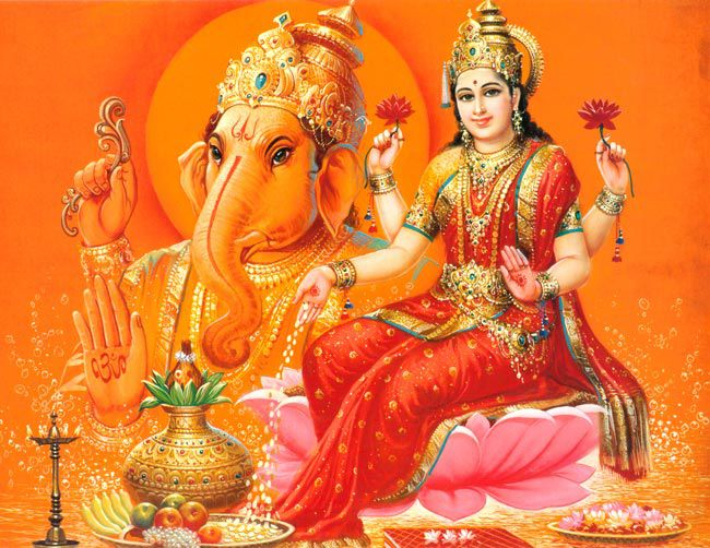 Lord Ganesha Wallpaper With Goddess Laxmi