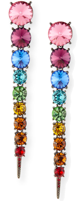Oscar de la Renta Swarovski Crystal Cascade Rainbow Tendril Earrings