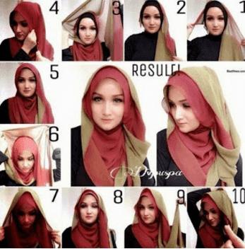 Tutorial Hijab Pashmina Bahan Sifon atau Chiffon Shawl Polos Dua (2) Warna gaya Simple untuk ke Pesta