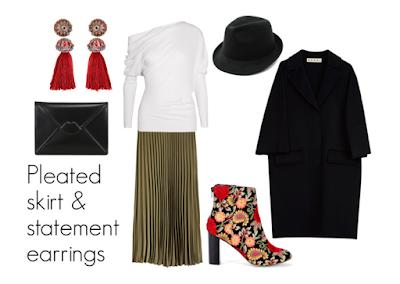 Outfit con falda plisada, pendientes con borlas, como llevar falda plisada, blog de moda, estilismo