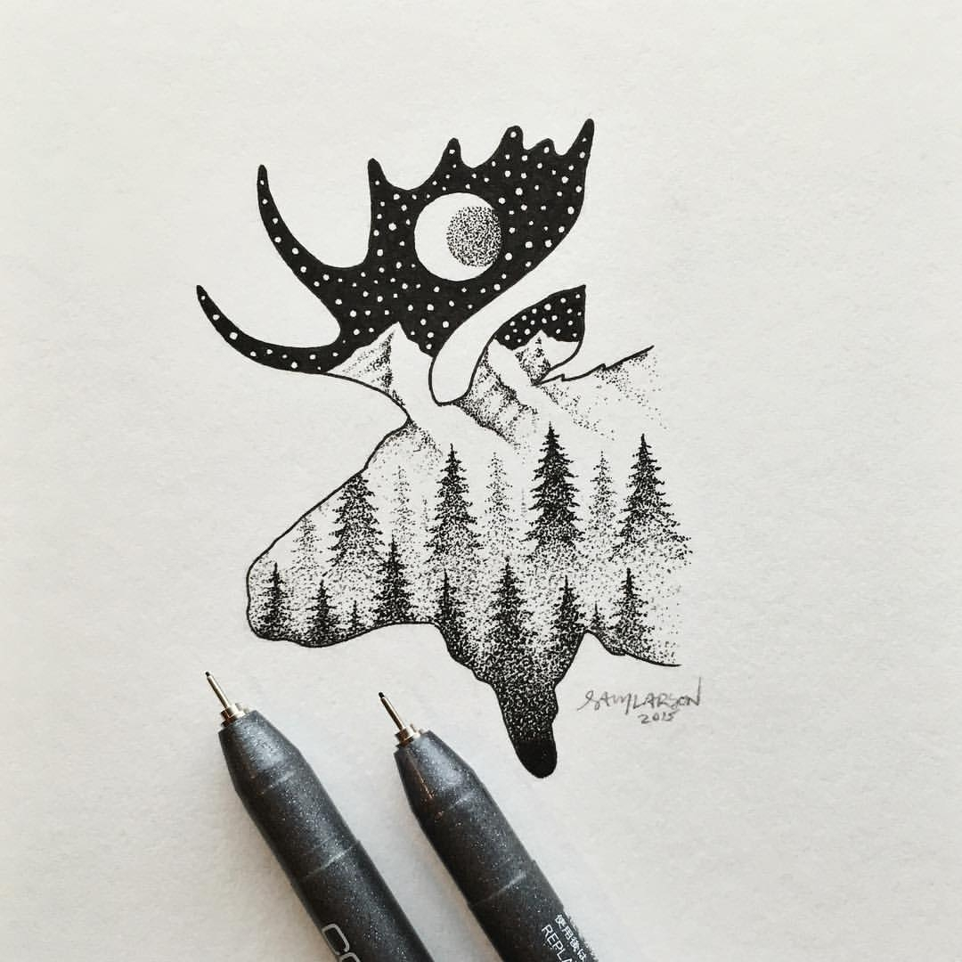 15-Moose-Outline-Sam-Larson-Injection-of-Inspiration-in-Diverse-Drawings-www-designstack-co
