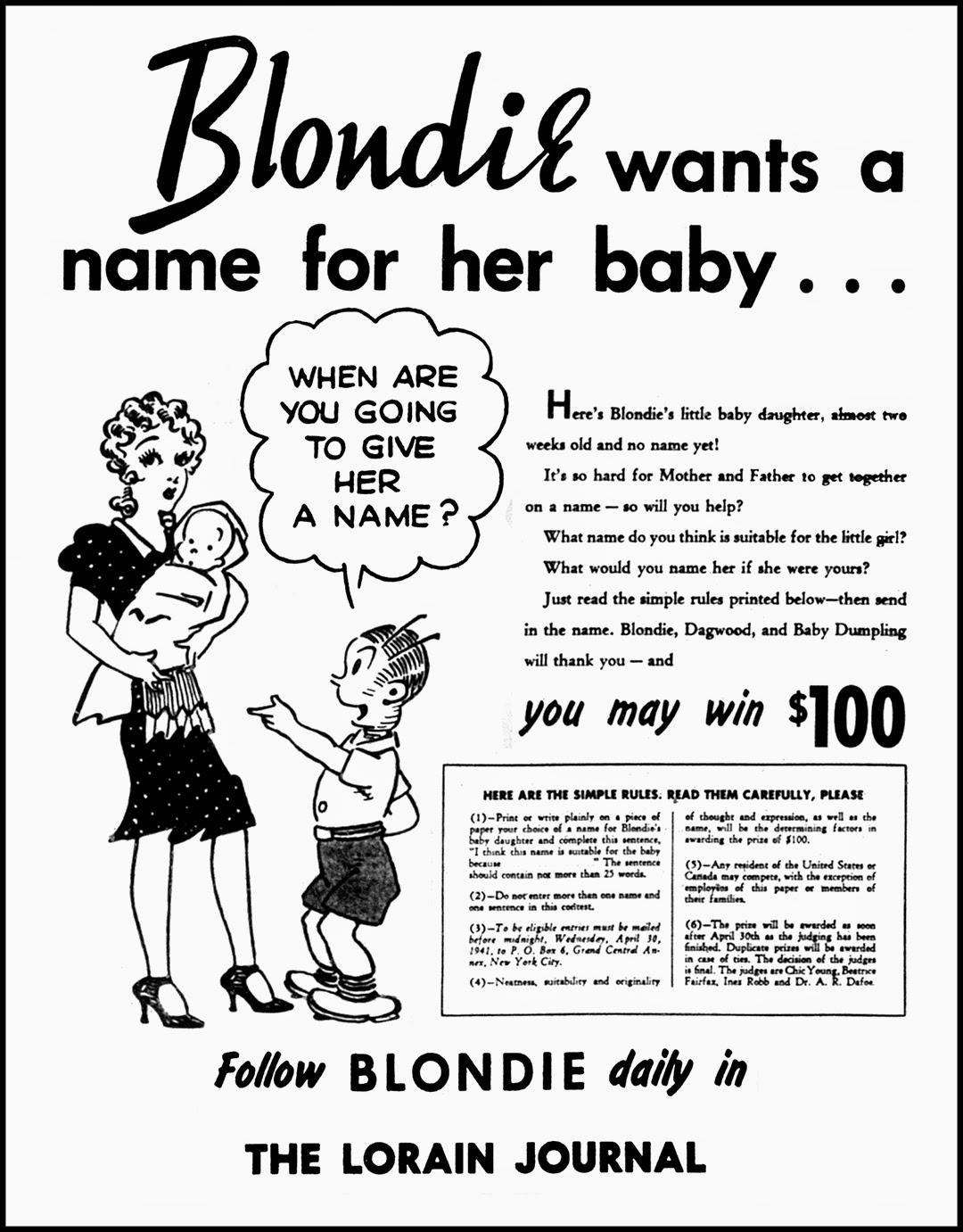 Brady's Bunch of Lorain County Nostalgia: Name Blondie's