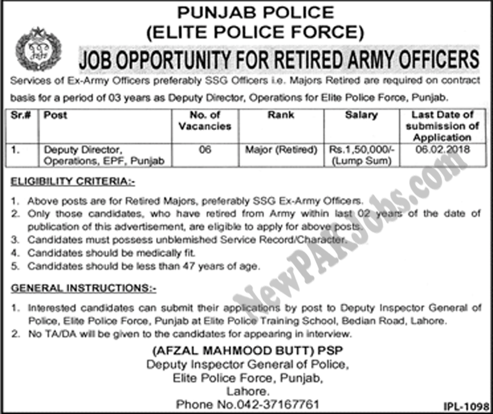 Elite Police Force Jobs In Punjab Police Latest Advertisement