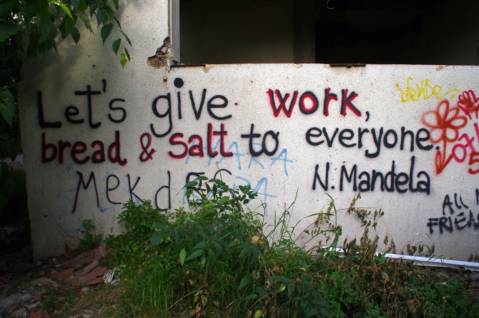 Quote in Mostar on walls
